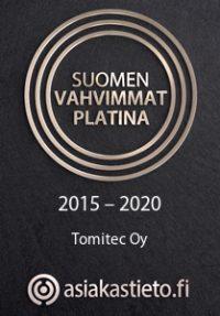 Suomen vahvimmat Platina 2015–2020 Tomitec Oy